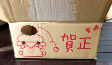 賀正バージョンの段ボール